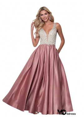 Votidress Pink Satin V-Neck Prom Evening Dresses Long A-Line Backless Ball Gown