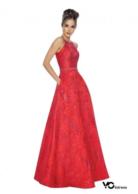Votidress red Long Prom Evening Dress