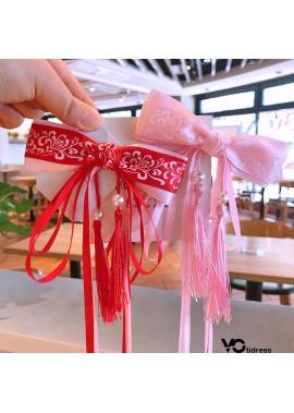2 Streamers Hair Clips Side Clips Hair Accessories Cute Bow Length 12CM Width 4CM Streamer Length 38CM
