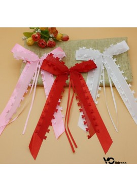 30PCS Peach Heart Yarn Love Ribbon Bow Party Decoration 13*22CM