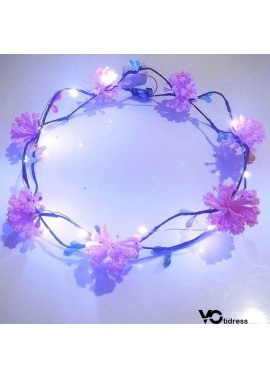 Light Glowing Garland Headdress Dried Flower Props 19CM