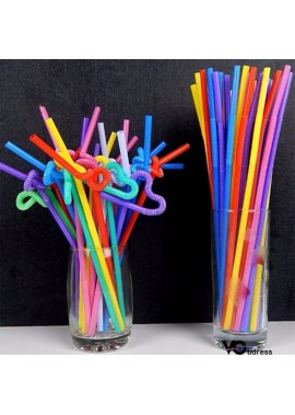 200PCS Colorful Shape Curved And Lengthened Disposable Straw 26CM