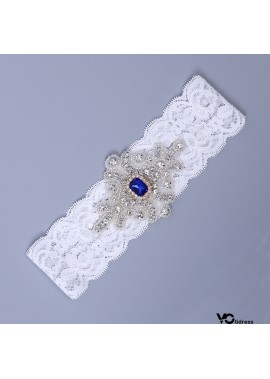 Bridal Lace Garter Set Wedding Garter With Blue Pearls