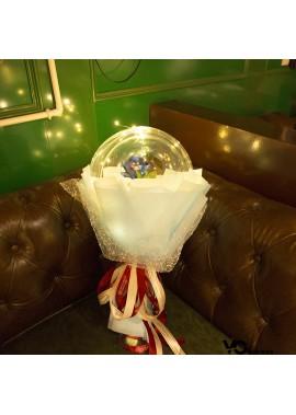 Transparent Bobble Ball Rose Bouquet Balloon 20 Inchs