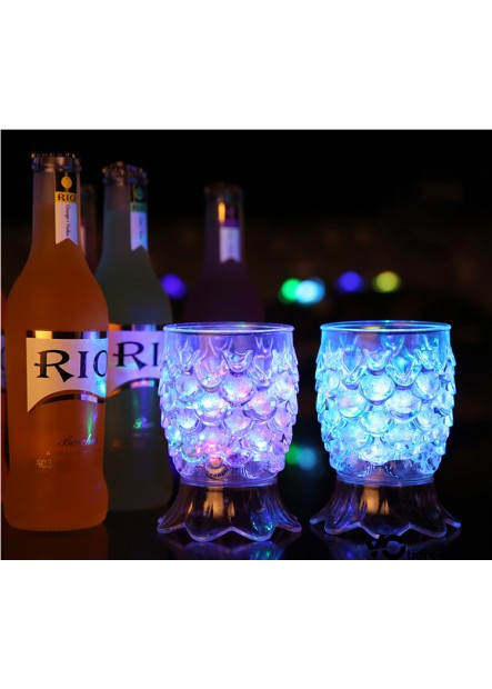 6PCS Luminous Cup Induction Cold Light Cup Pineapple Cup: 8.7*7CM