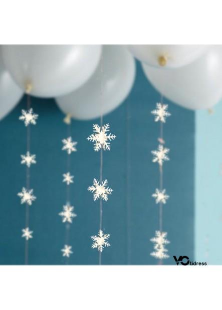 Three-Dimensional Silver White Cardboard String Snowflake Ornament Total Length 3 Meters