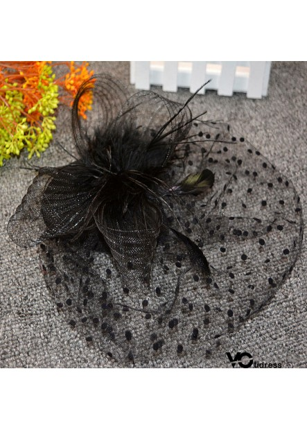 Headdress Hair Accessory Feather Cover Face Hairpin Veil Top Hat