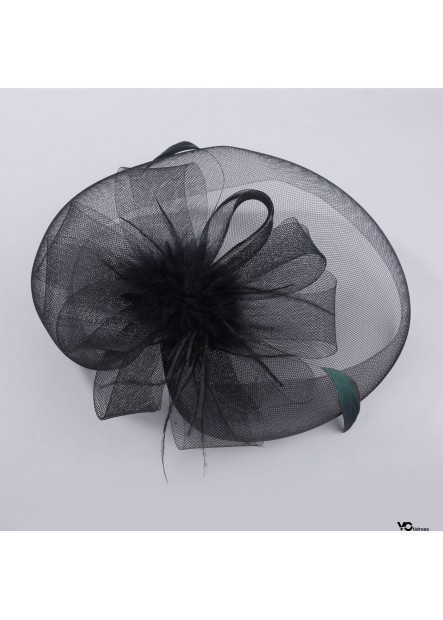 Black And White Stylish Top Hat Accessories Mesh Feathers