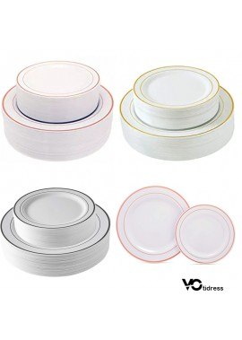 Two Sets Of Disposable Plastic Plates Including The Large 10.25 Inches And The Small 7.5 Inches