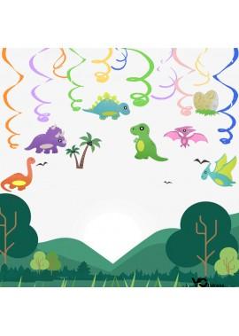 Cartoon Dinosaur Spiral Decoration Dinosaur Theme Party Charm Spiral Ornament Decoration Ribbon
