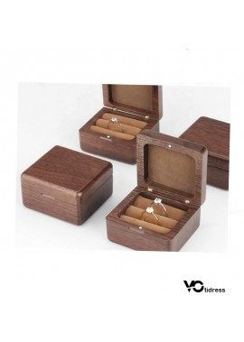 Black Walnut Wooden Box Wedding Wooden Flip Ring Box Length 8CM Width 8CM Height 8CM