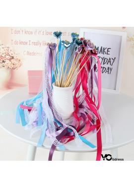 10PCS Ribbon Fairy Stick The Wooden Stick is 30CM Long And The Ribbon Is 60CM Long