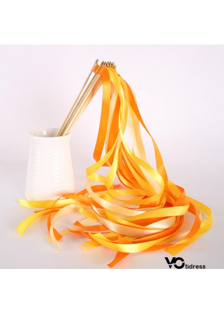 10PCS European Wedding Color Ribbon Fairy Stick The Wooden Stick Is 30CM Long And The Ribbon Is 60CM Long