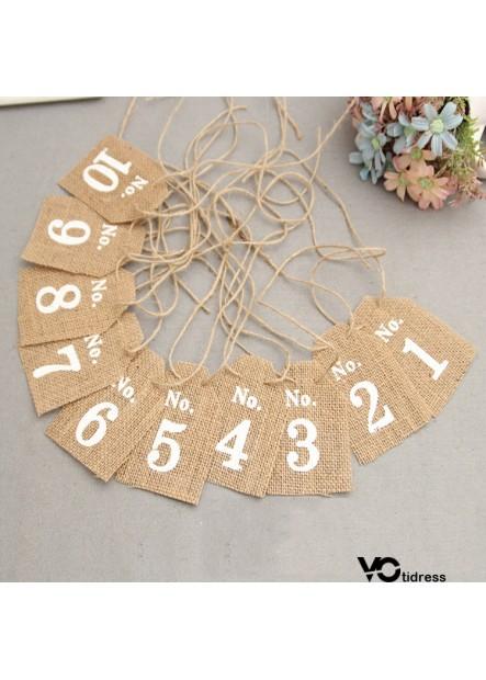 7*10CM Burlap shield digital hanging card 1-10 personalized custom seat card table card
