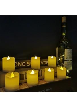 12PCS Led Candle Light Electronic Candle Christmas Candle Light Yellow Flash 3.6*4.7CM, Warm White Flash 3.6*4.7CM