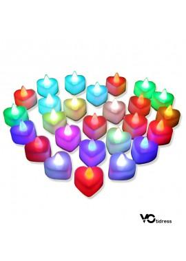 24PCS Heart Shaped Electronic Led Candle Light 48xx32x49CM