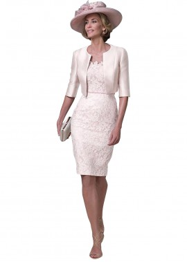 Votidress Pink Mother Of The Bride Dress With Jacket kneeLength