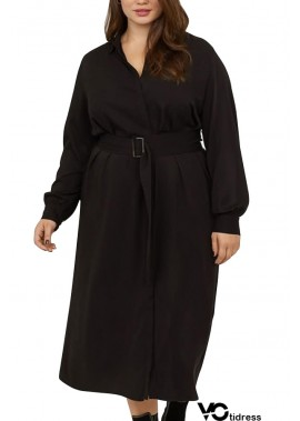 Black Belted Long Sleeve Casual Plus Size Midi Dress