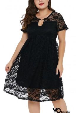 Keyhole Short Sleeve A Line Sexy Plus Size Lace Dress