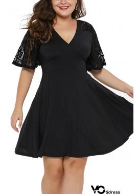 Black Lace Sleeve V Neck Sexy Party Plus Size A Line Dress