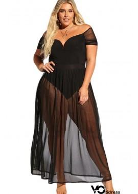 Black Mesh Off Shoulder Sexy Maxi Plus Size Dress