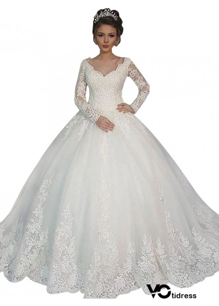 Votidress 2021 Long Sleeve Winter Ball Gowns With Sleeves UK