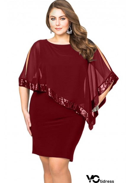Sequins Cape Overlay Slit Casual Plus Size Bodycon Dress
