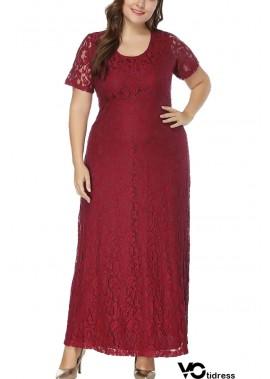 Short Sleeve Cutout Back Casual Plus Size Lace Dress