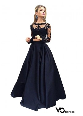 Votidress Lace Black Long Prom Evening Dress