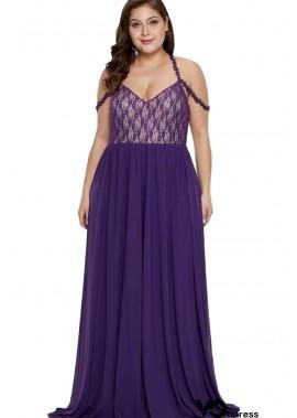 Purple Lace Splicing Spaghetti Straps Sexy Maxi Plus Size Party Dress