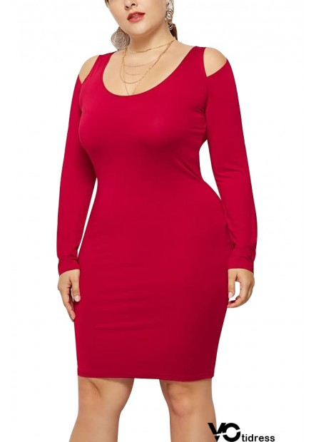 Cold Shoulder Scoop Neck Long Sleeve Sexy Party Plus Size Dress