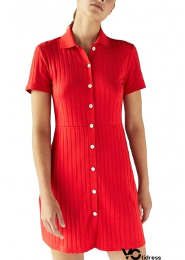 Lapel Button Up Short Sleeve Ribbed Casual Plus Size Sweater Dress
