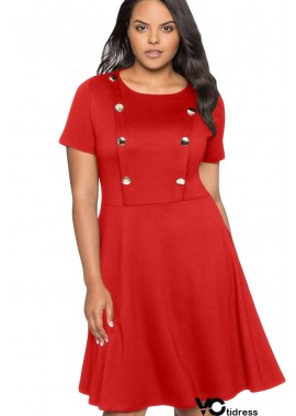 Round Neck Short Sleeve Button Casual Plus Size Dress