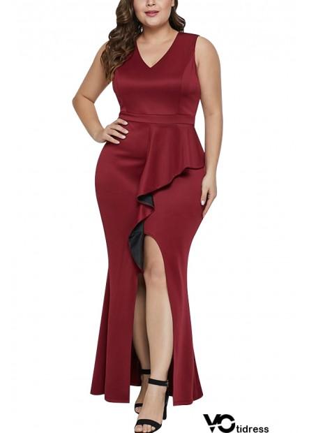V Neck Sleeveless Slit Ruffles Sexy Maxi Plus Size Dress