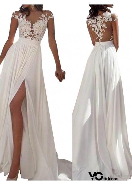 Votidress White Summer Beach Simple Wedding / Evening Dresses