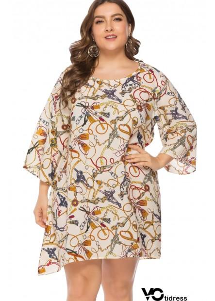 White Chain Print Round Neck Casual Plus Size Dress