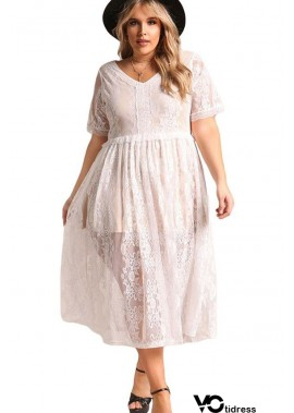Lace V Neck Sexy Sheer Plus Size Dress