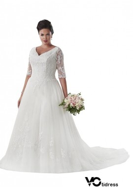 Votidress Vintage Plus Size Wedding Dress With Sleeves