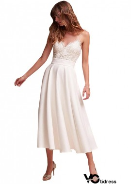 Votidress Casual Simple Beach Short Cheap Tea Length Wedding Dresses
