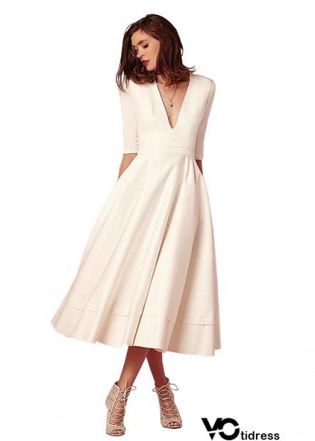 Votidress Cheap Tea Length Beach Wedding Dresses