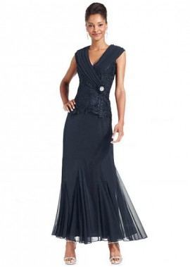 Votidress Navy Blue Mother Of The Bride Dress Tea Length 2021