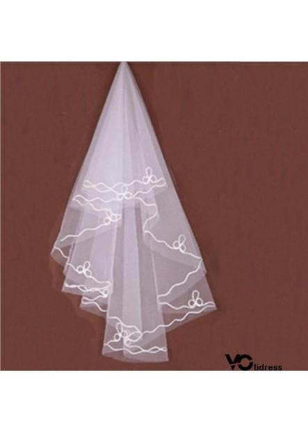 Bridal veil white silk line 1.5m single layer wedding veil